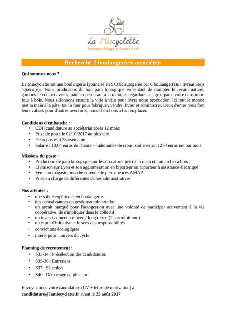Annonce embauche Miecyclette automne 2017